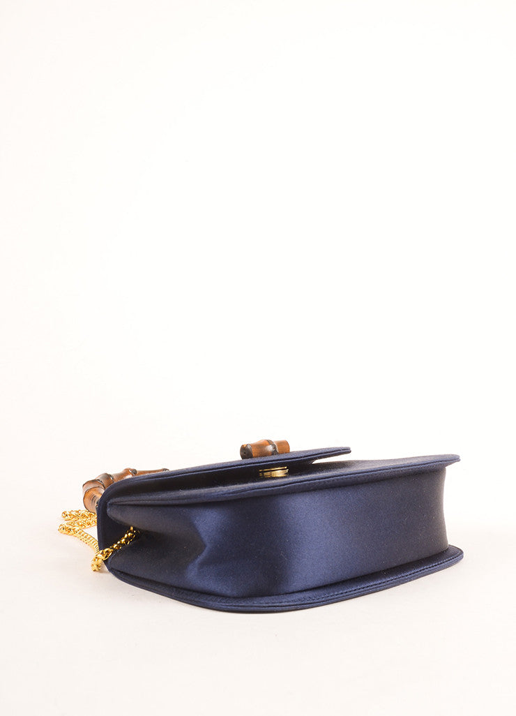 Gucci Navy and Gold Toned Satin Bamboo Handle Chain Strap Evening Bag Bottom View