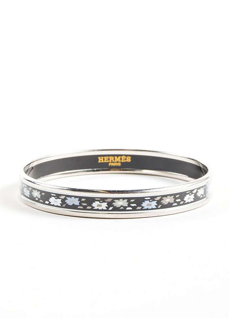 Hermes Grey, White, and Black Floral Paisley Enamel Bangle Bracelet Frontview