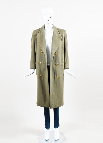 Hermes Olive Green Cashmere Notch Lapel Double Breasted Trench Coat Frontview