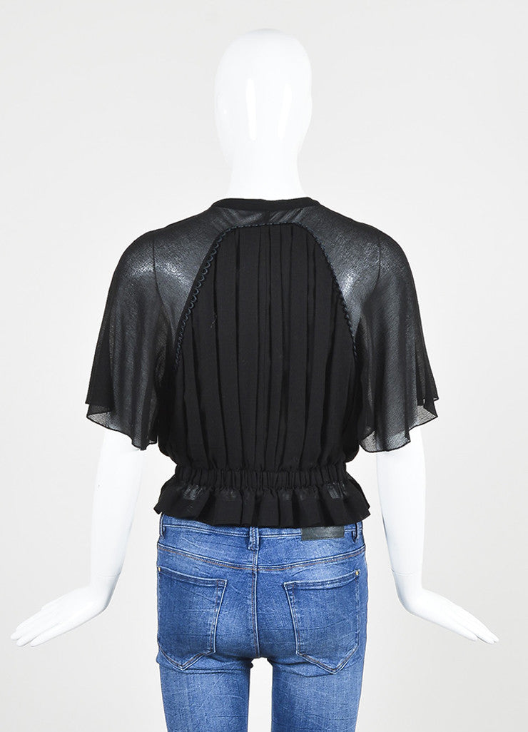 "Black Isabel Marant Cotton Crepe Gathered Waist ""Rauline"" Short Sleeve Top Backview"