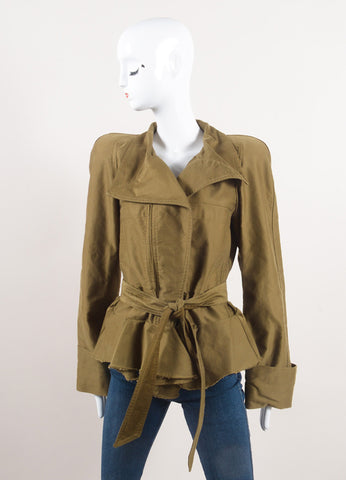 "Isabel Marant New With Tags Army Green Cotton Peplum Military ""Janey"" Jacket Frontview"