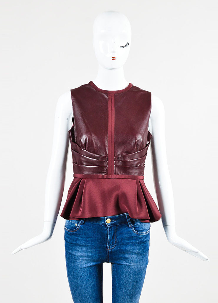 J. Mendel Burgundy Leather Pleated Detail Sleeveless Peplum Top Frontview