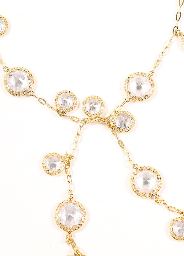 Jarin Gold Toned Rhinestone Embellished Long Lariat Tie Necklace Detail 3