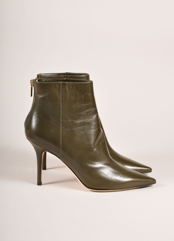 "Jimmy Choo New In Box Army Green Leather ""Amore"" Pointed Toe Ankle Boots  Sideview"