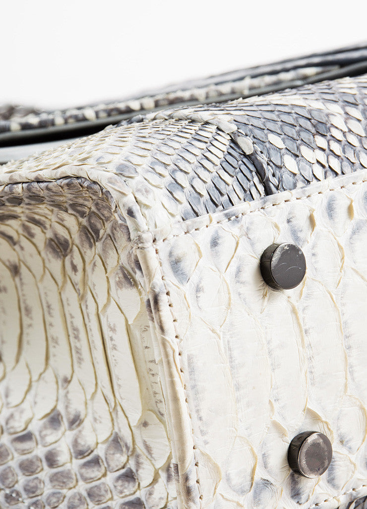 Khirma Eliazov Herzog Grey Python and Crocodile Convertible Clutch Bag Detail