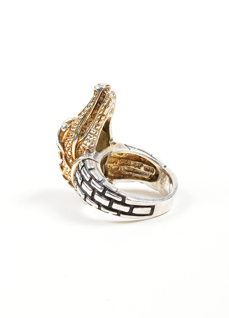 Barry Kieselstein-Cord 14K Yellow Gold and Sterling Silver Alligator Head Ring Sideview