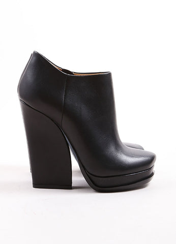 Lanvin Black Leather Side Zip Chunky Heel and Platform Ankle Boots Sideview