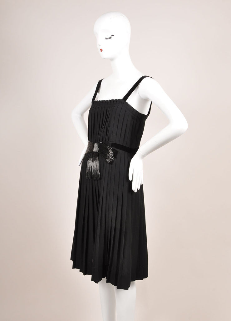 Lanvin Black Beaded Bow Detail Wool Blend Sleeveless Pleated Dress Sideview