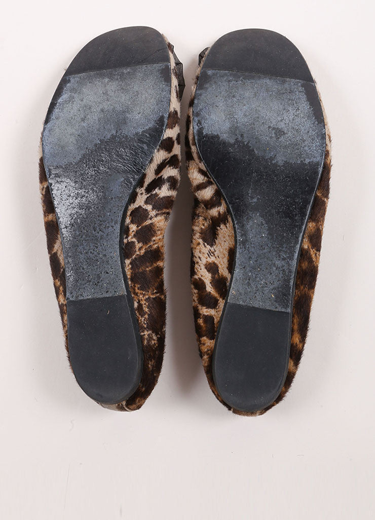 Lanvin Black and Brown Pony Hair Leopard Print Embellished Elastic Flats Outsoles