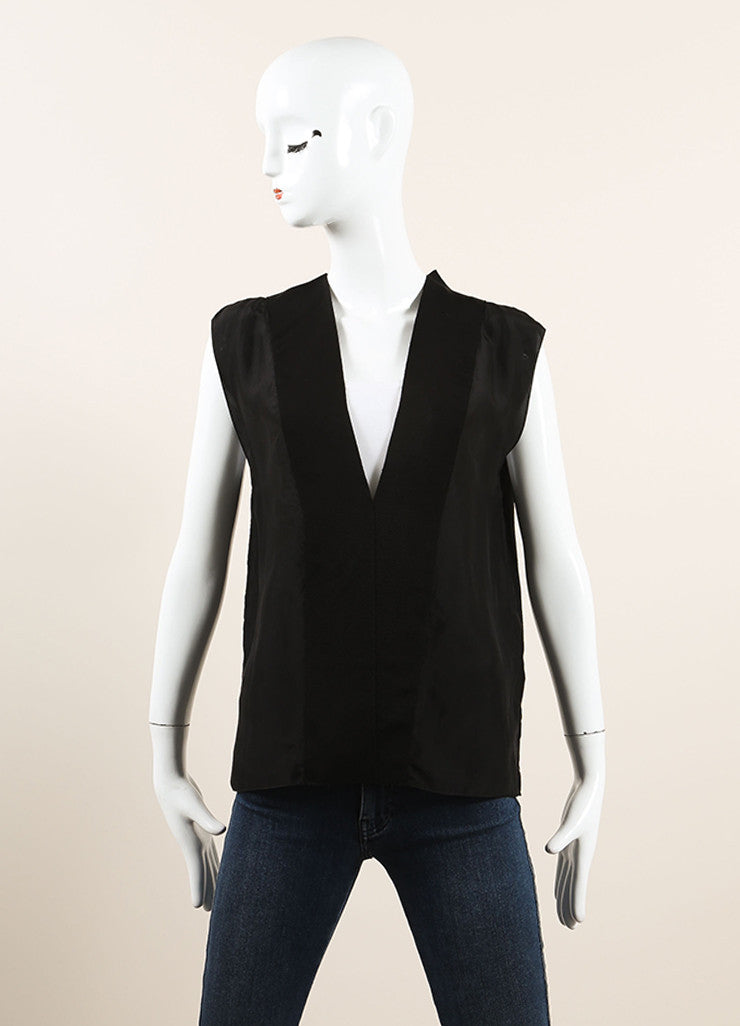 Lanvin Black Silk V-Neck Sleeveless Top Frontview