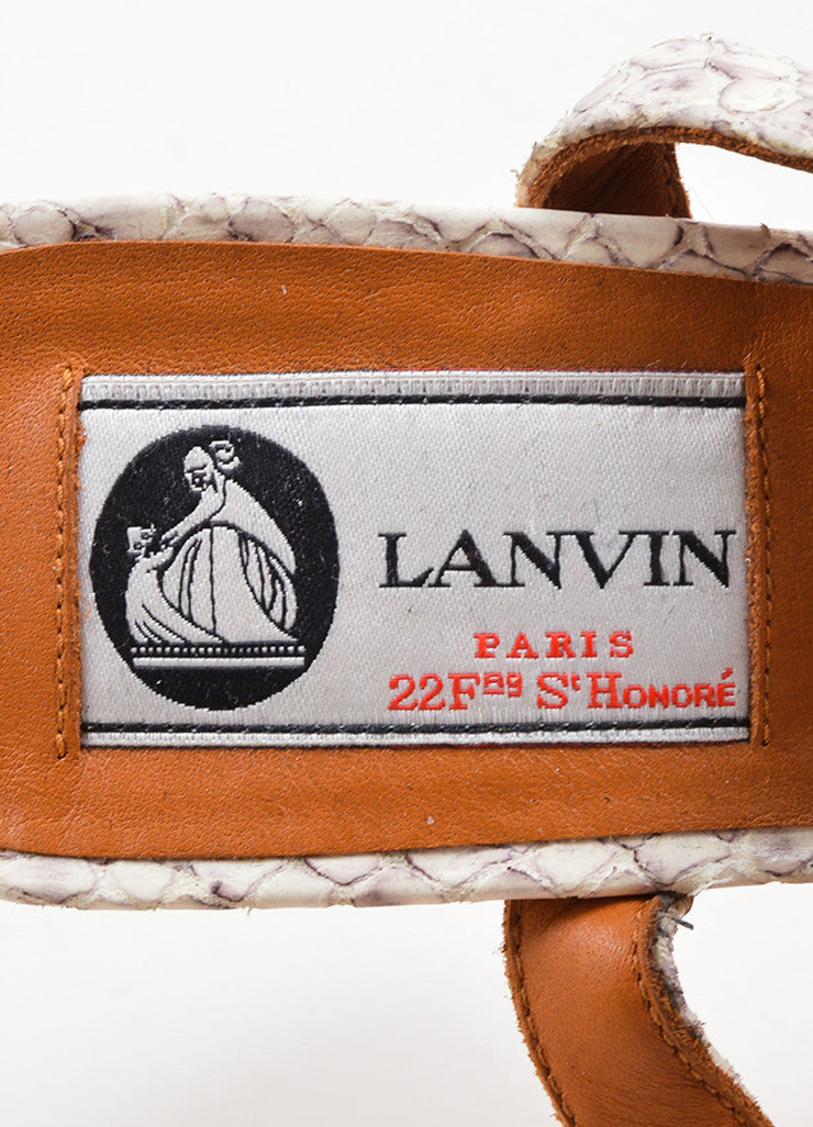 Lanvin White and Grey Snakeskin Wood Raffia Studded Wedge Sandals Brand