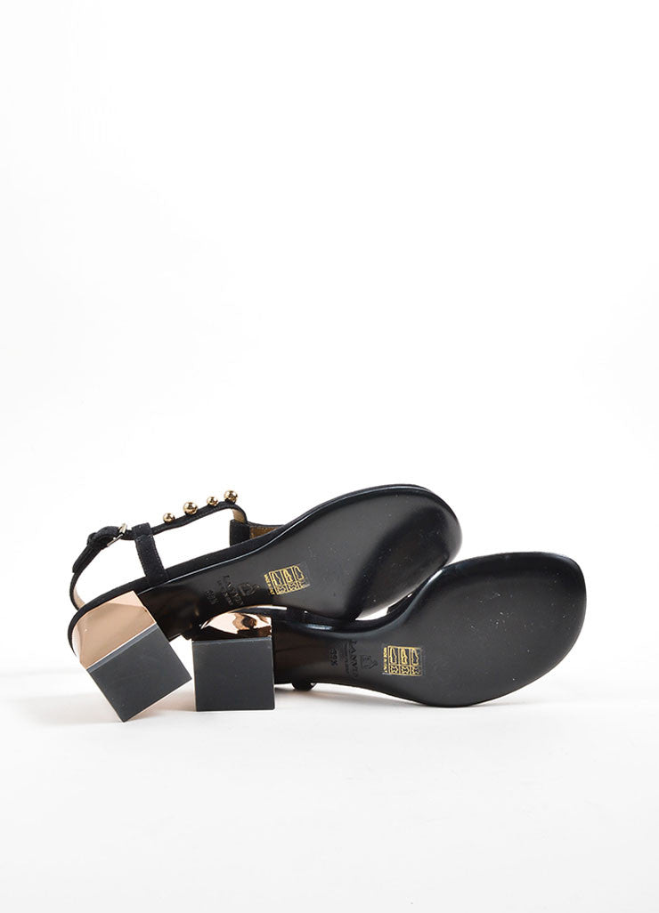 Lanvin Black and Gold Toned Suede Studded Chunky Heel Thong Sandals Outsoles