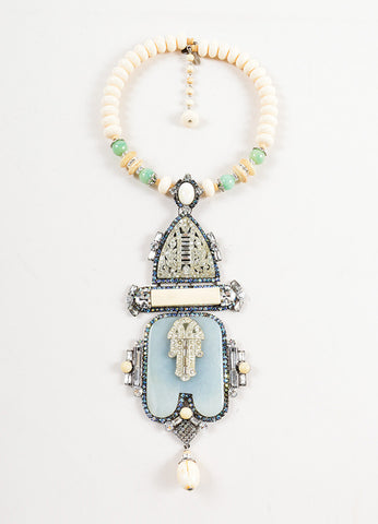 Lawrence VRBA Cream and Green Hamsa Deco Neckace Front 2