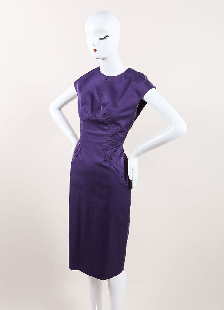 Lela Rose New With Tags Dark Purple Paneled Split Neck Sleeveless Sheath Dress Sideview