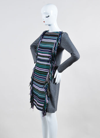 Grey and Multicolor ̴å«?ÌÎÌÏLela Rose Woven Fringe Long Sleeve Tunic Dress Sideview