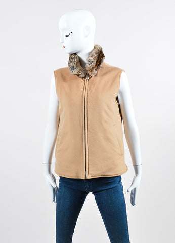 Camel Tan Loro Piana Cashmere & Chinchilla Collar Vest Front 2