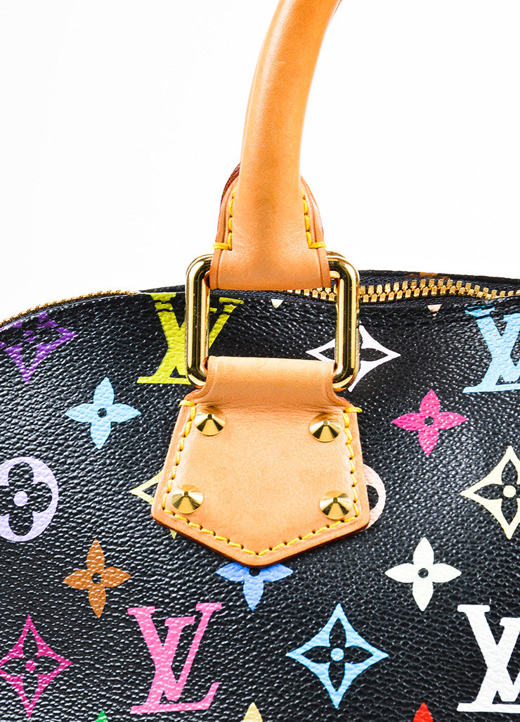 "Louis Vuitton Black Monogram Multicolore ""Alma PM"" Satchel Tote Bag Detail 2"