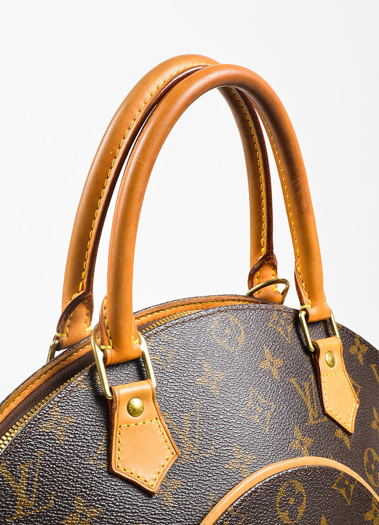 "Louis Vuitton Brown and Tan Coated Canvas and Leather Monogram ""Ellipse MM"" Bowler Bag Detail 3"