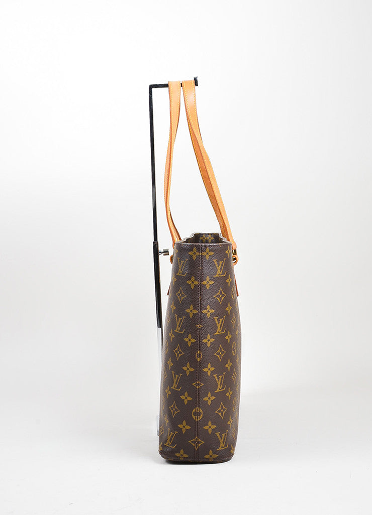 "Brown and Tan Louis Vuitton Coated Canvas Monogram Logo ""Luco"" Tote Bag Sideview"