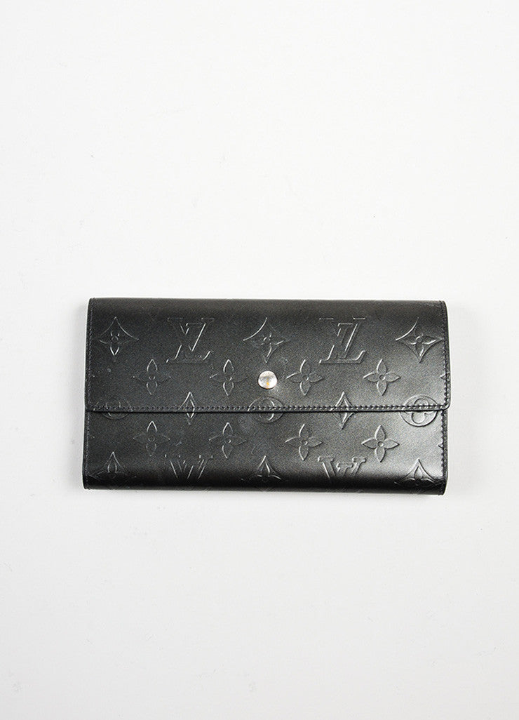 "Grey Louis Vuitton Leather Matte ""LV"" Monogram Tri-fold Wallet Frontview"