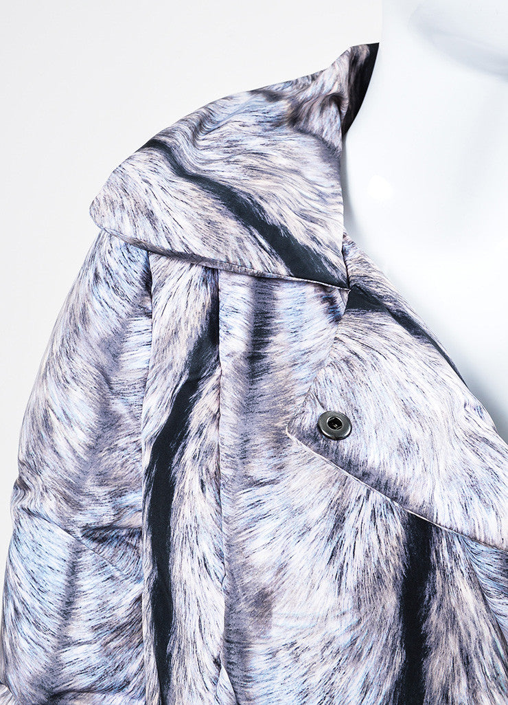 MM6 Maison Martin Margiela Grey and Black Fur Double Breasted Down Puffer Coat Detail