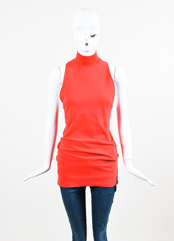 MM6 Maison Martin Margiela Red Mock Neck Ribbed Longline Top Frontview