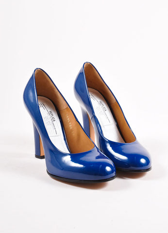 Maison Martin Margiela Dark Blue Patent Leather Round Toe Pumps Frontview