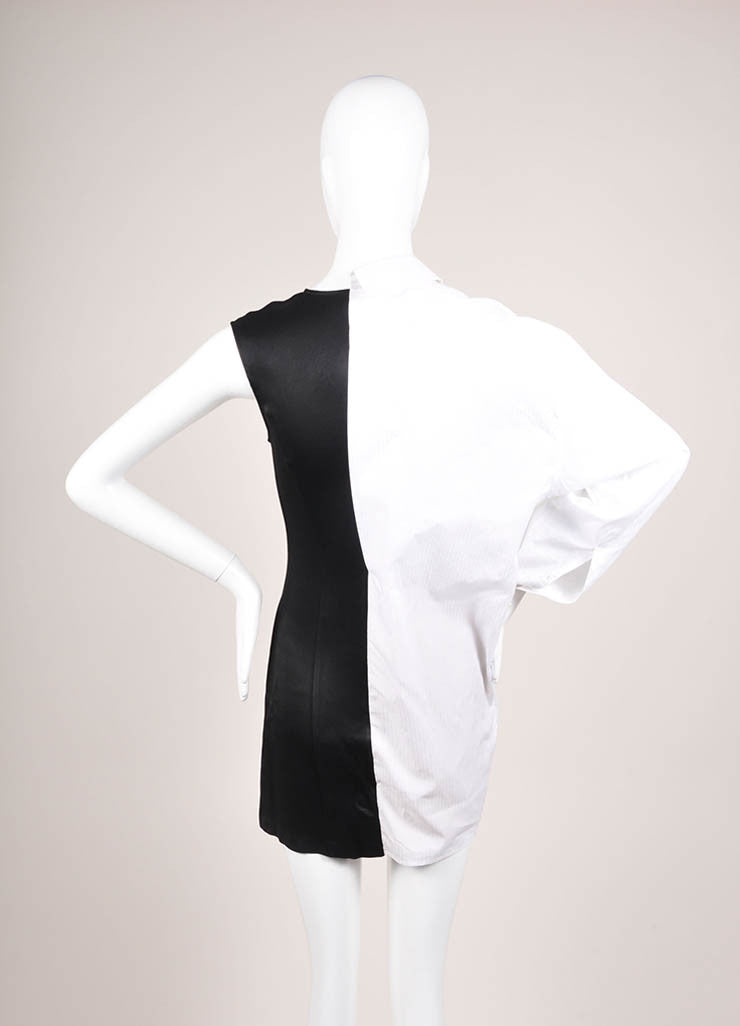 Maison Martin Margiela Black and White Poplin Satin One Sleeve Tunic Dress Backview