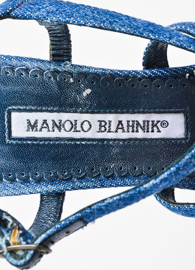 Manolo Blahnik Dark Blue Denim Cross Strap Heeled Sandals Brand