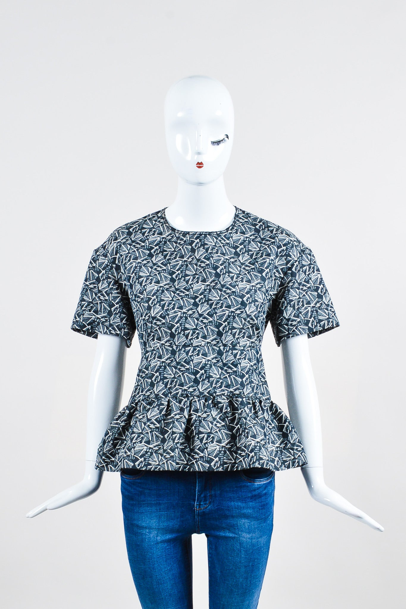 Blue-Grey and White Marni Geometric Print Pleated Short Sleeve Top Frontview