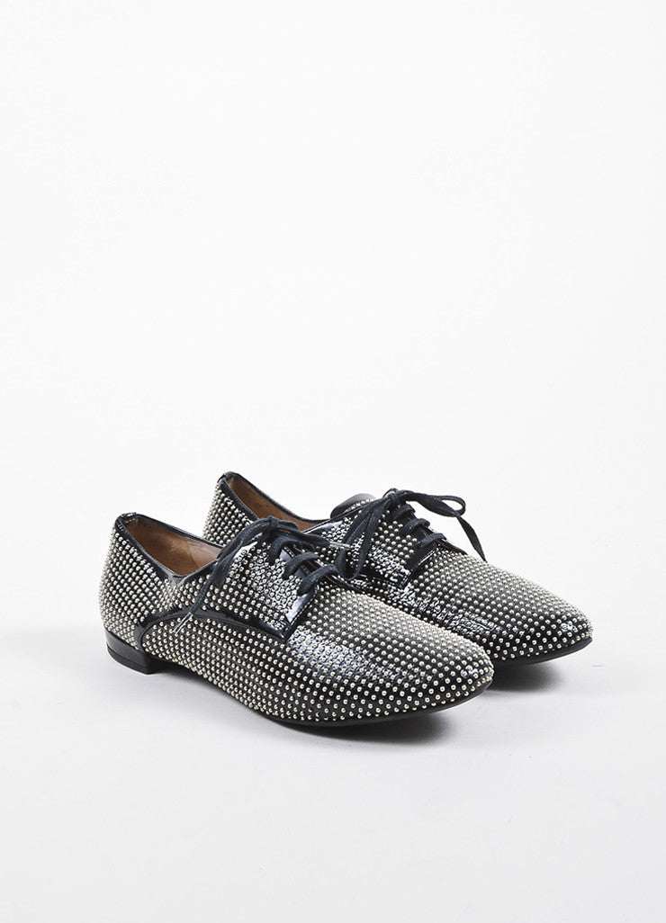 Miu Miu Black Patent Leather and Silver Toned Studded Lace Up Oxfords Frontview