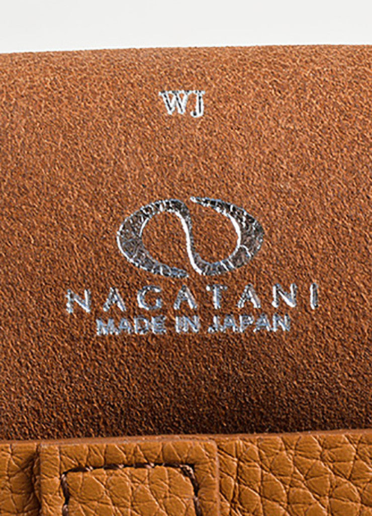 Nagatani Brown Pebbled Leather Square Clutch Bag Brand