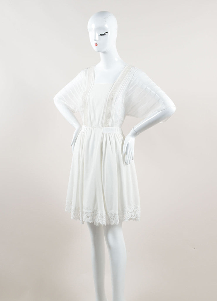 Nina Ricci White Silk Embroidered Lace Pleated Short Sleeve Dress Sideview