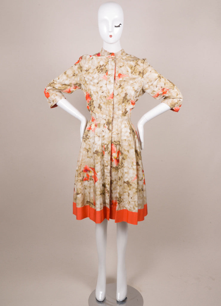 Oscar de la Renta Green and Coral Silk Floral Print Button Down Dress Frontview