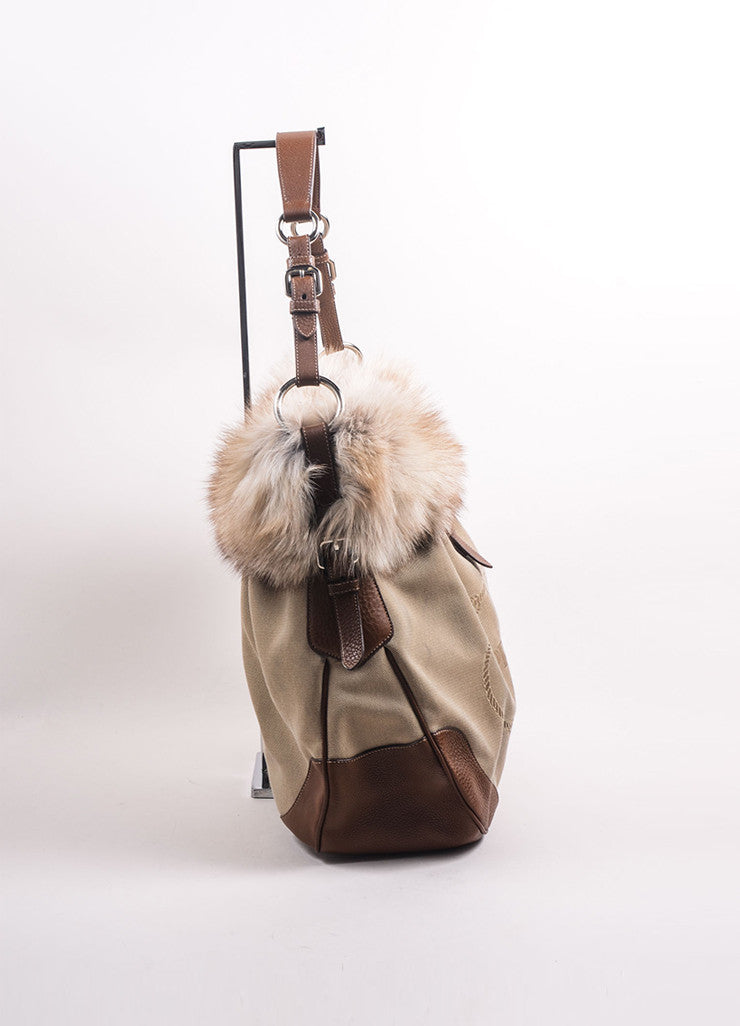 Prada Brown and Beige Canvas Fox Fur Trim Logo Tote Bag Sideview