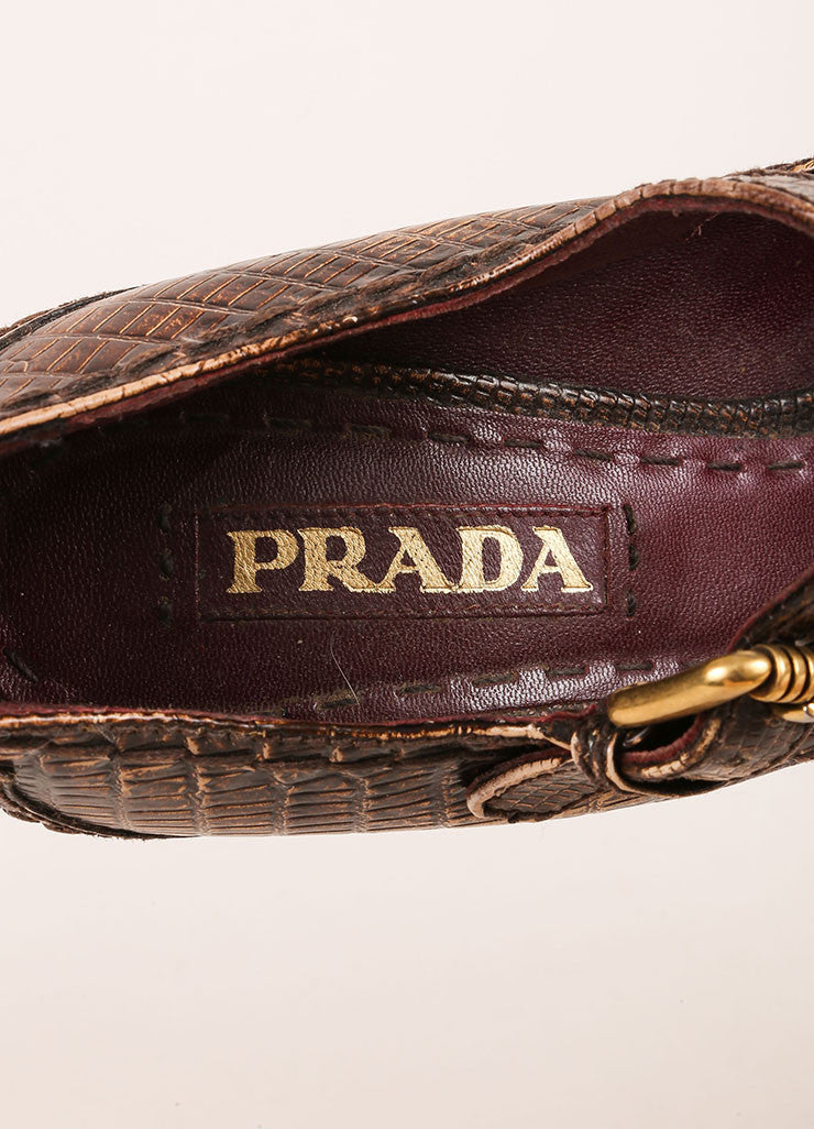Prada Brown Lizard Embossed Leather Platform Mary Jane Pumps Brand