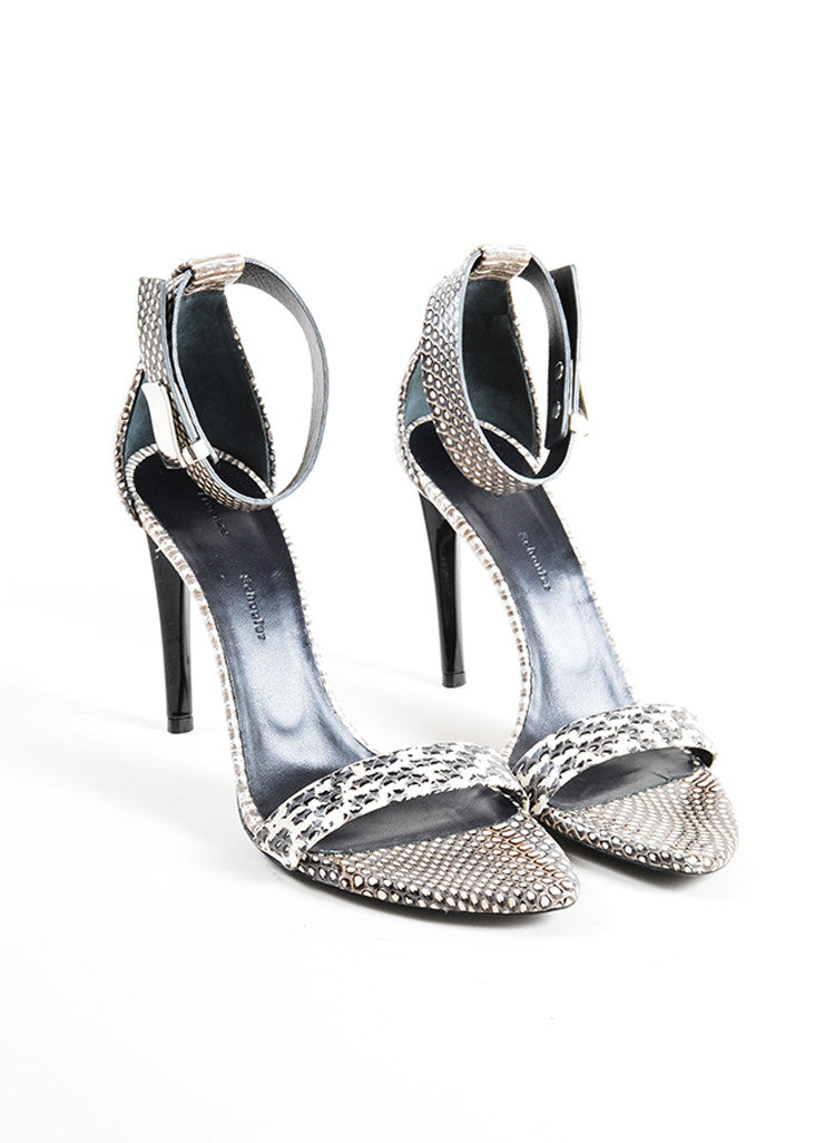 Proenza Schouler Grey and Cream Snakeskin Ankle Strap Heeled Sandals Frontview
