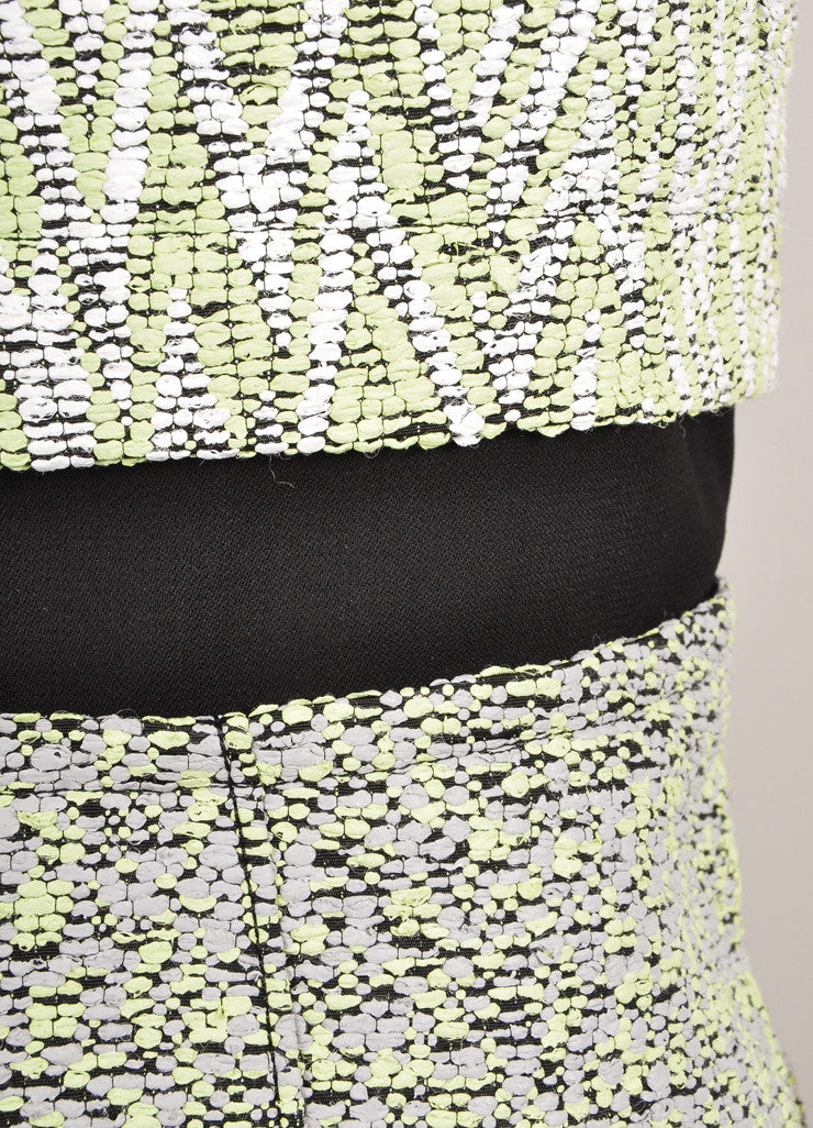 Proenza Schouler New With Tags White and Green Zig Zag Plaster Jacquard Dress Detail