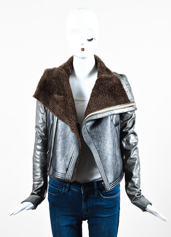 Rick Owens Brown and Grey Metallic Leather Shearling Knit Insert Moto Jacket Frontview
