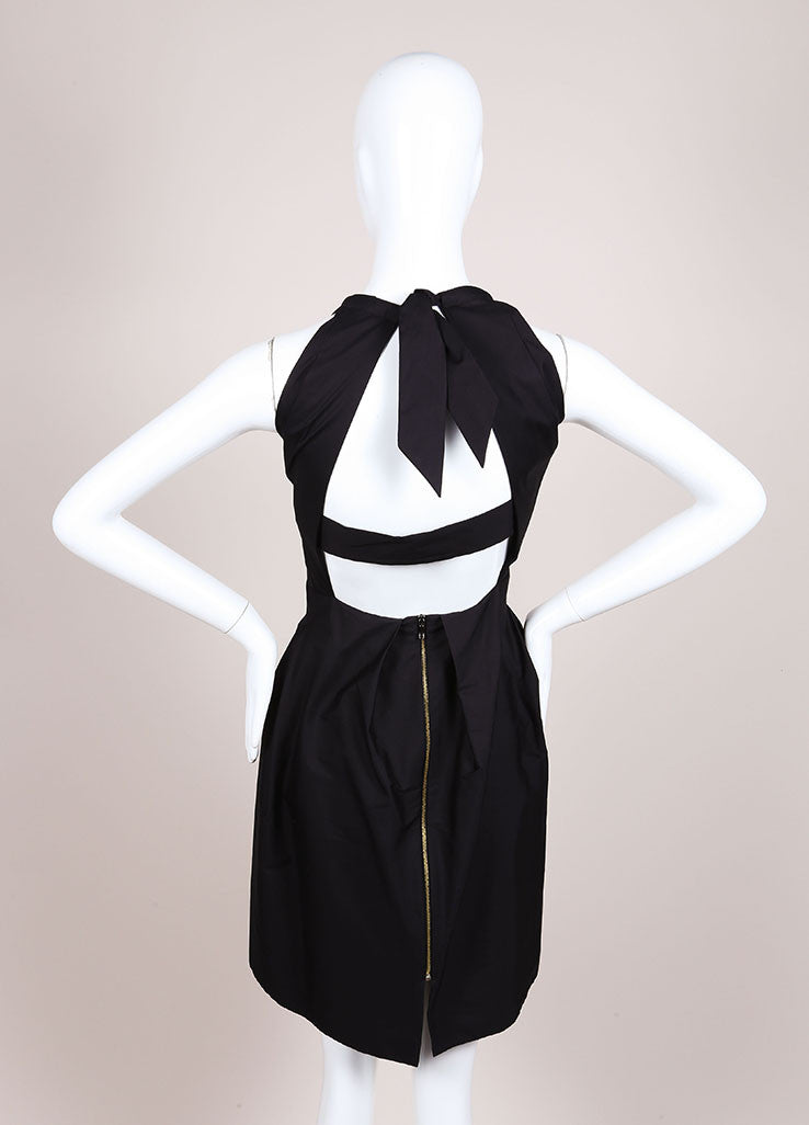 "Roland Mouret New With Tags Black Sleeveless Pleated Poplin ""Felis"" Dress Backview"