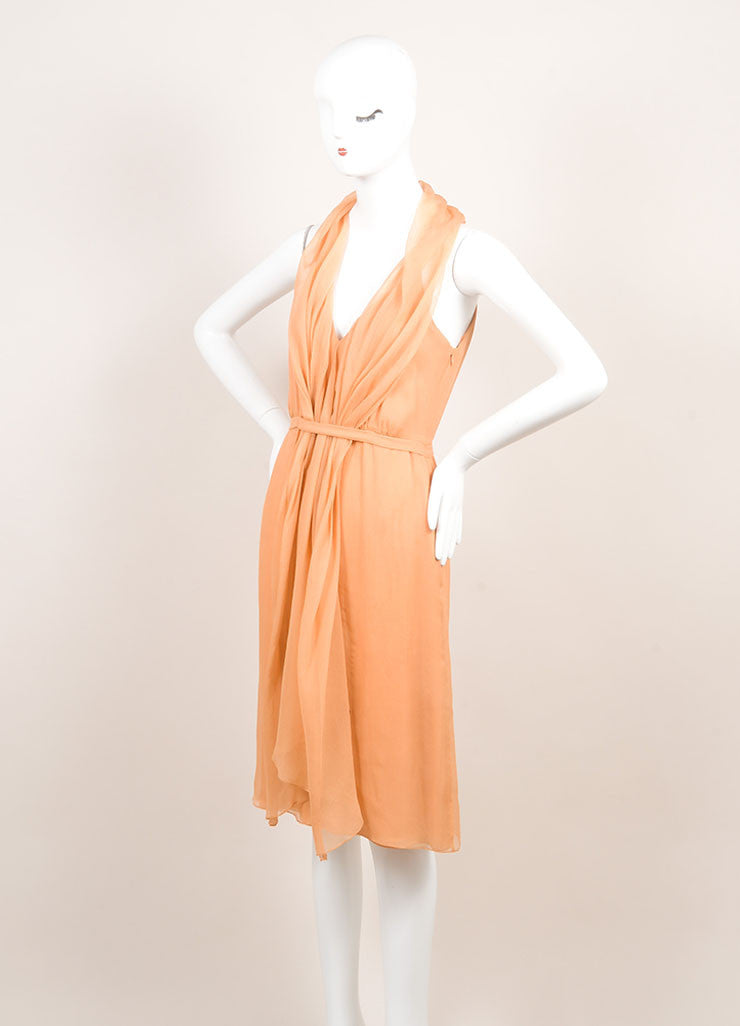 Sari Gueron Orange Silk Draped Racer Back Sleeveless Dress Sideview