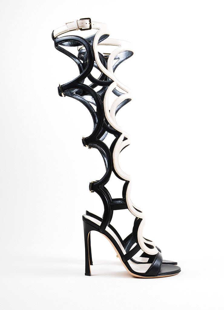 "Cream Black Sergio Rossi ""Arabesque"" Cage Sandals Side"