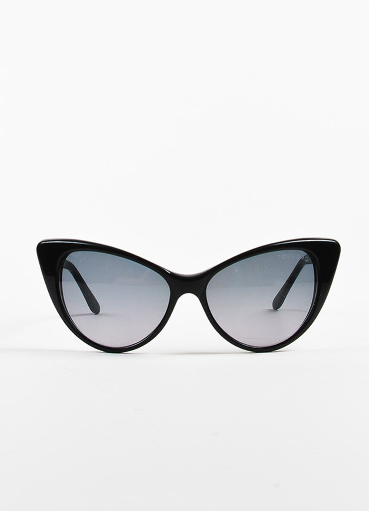 "Black Tom Ford Cat Eye ""Nikita"" Sunglasses Front 2"