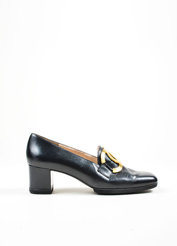 Black Chanel Leather Pilgrim Square Toe Loafers Sideview