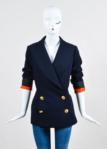 Chanel Navy Gold Toned Wool 'CC' Double Breasted Jacket Frontview 2