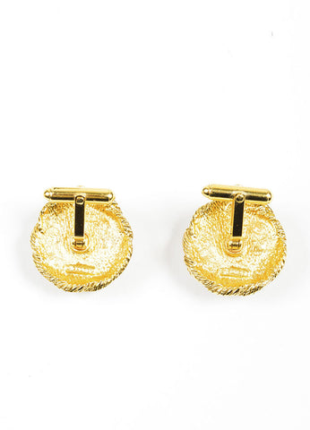 Gold Toned and Faux Pearl Chanel Braided Cufflinks Backview