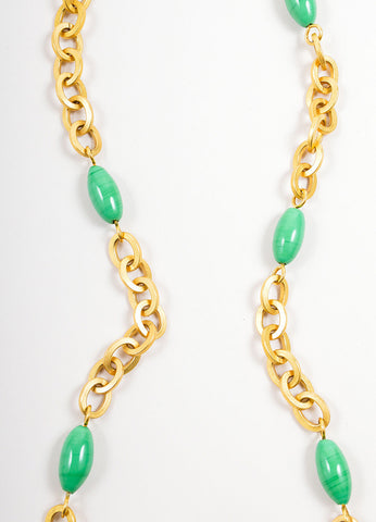 Chanel Gold Toned and Green Chain Link Beaded Long Necklace Detail