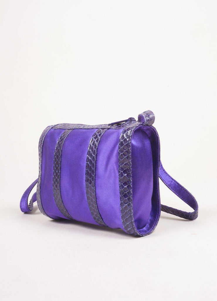 Fendi Purple and Grey Satin and Snakeskin Leather Zip Shoulder Bag Sideview