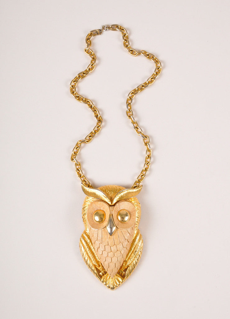 Vintage Gold Toned Metal and Plastic Oversized Owl Chain Necklace Frontview