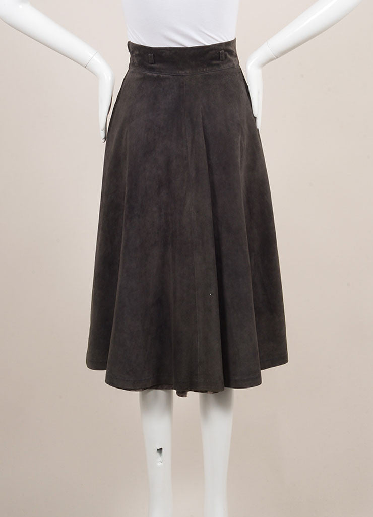 Gucci Grey Suede Full Midi Skirt Backview